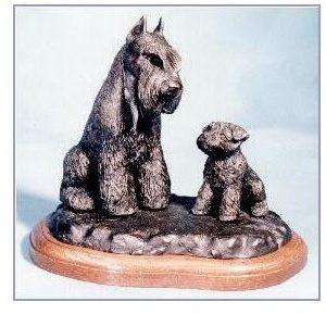 Miniature Schnauzer Dog - Adult Sitting with Puppy