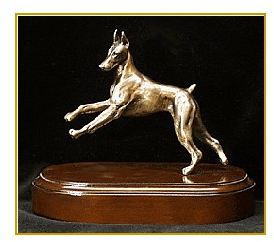 Doberman - Bronze Figurine - Small Moving Dog