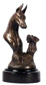 Doberman - Foundry Bronze - Adult and Pup Bust