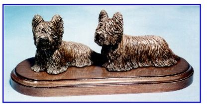 Skye Terrier - Pair On Base