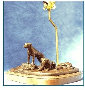 Rhodesian Ridgeback - Pair On Lamp Base
