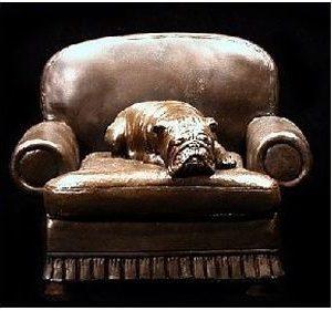Bulldog- Sleeping On Chair