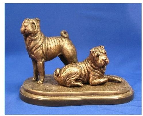 Chinese Shar Pei - Pair on Base