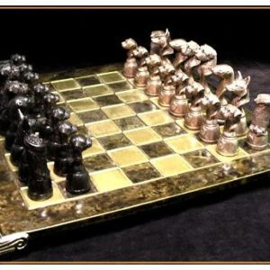 Border Terrier - Bronze Chess Set