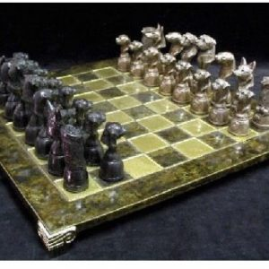 Border Terrier - Cold Cast Bronze Chess Set