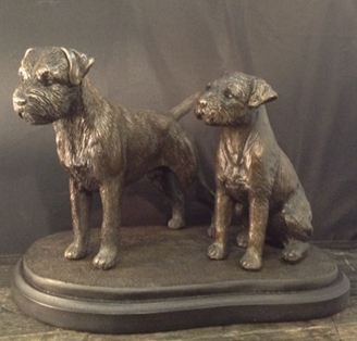 Border Terrier- Med. Pair on Base