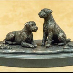 Border Terrier - Pair on Grassy base