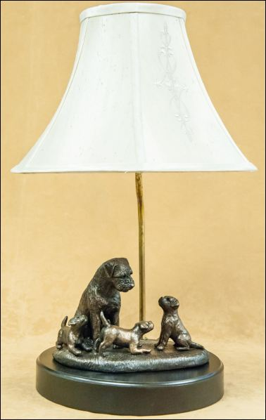 Border Terrier- Family Scene Lamp