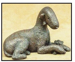 Bedlington Terrier - Large Lying with toy