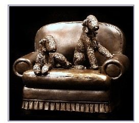 Bedlington Terrier -Pair on Chair
