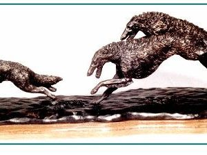 Borzoi - Pair Chasing Wolf