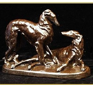 Borzoi - Reproduction of Antique Pair of dogs