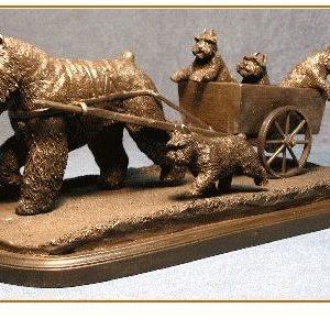 Bouvier Des Flandres - Cart Scene with Puppies