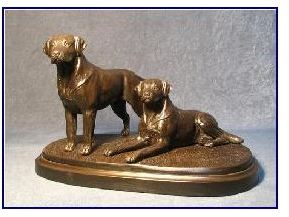 Labrador Dog - Pair on Grassy Base