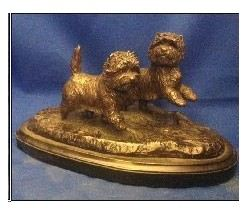 Cairn Terrier - Small Pair Running/Playing