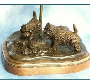 Cairn Terrier -Discovering a Frog Lamp