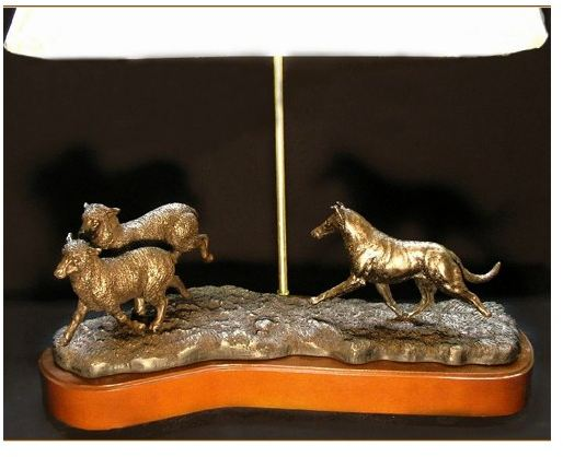 Collie Smooth - Herding Scene Lamp