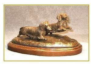 Dachshund Longhaired - Small Pair Running/Playing