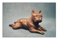 French Bulldog - Large Lying Frenchie and Toy