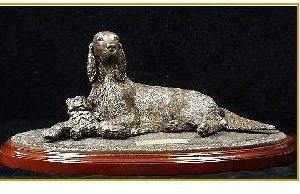 Gordon Setter Dog - Lying with Toy on Base