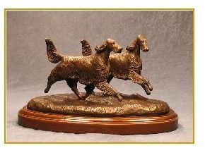 Gordon Setter Dog - Small Pair Running/Playing