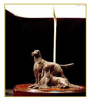 Gordon Setter Dog - Medium Pair on Lamp