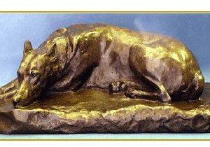 Doberman - Antique Reproduction - Large Lying Dog