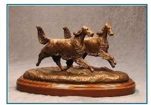 Irish Setter Dog - Small Pair Running/Playing