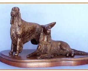 Irish Setter Dog - Pair on Base