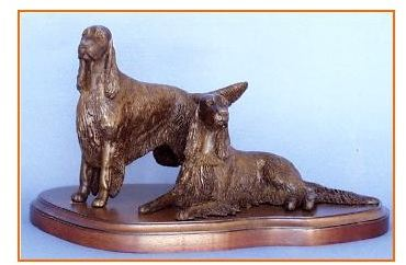 Irish Setter Dog - Pair on Base