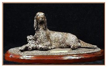 Irish Setter Dog - Lying with Toy on Rug Base