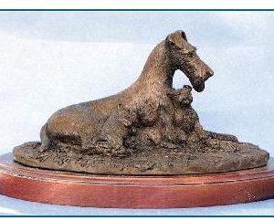 Irish Terrier Dog - Mother and Three Pups