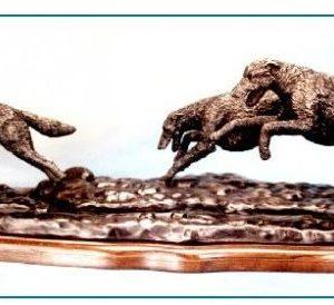 Irish Wolfhound Dog - Pair Chasing Wolf