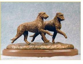 Irish Wolfhound Dog - Pair Running/Playing