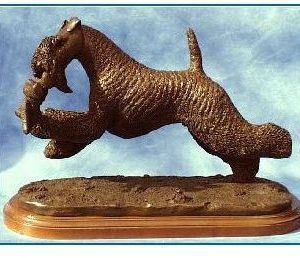 Kerry Blue Terrier Dog - Leaping with Teddy Bear