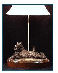 Kerry Blue Terrier Dog - Lying with Irish Teddy bear Lamp