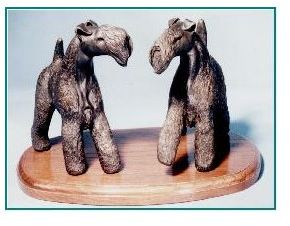 Kerry Blue Terrier Dog - Large Standing Pair