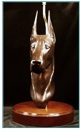 Doberman - Lifesize Headstudy Lamp